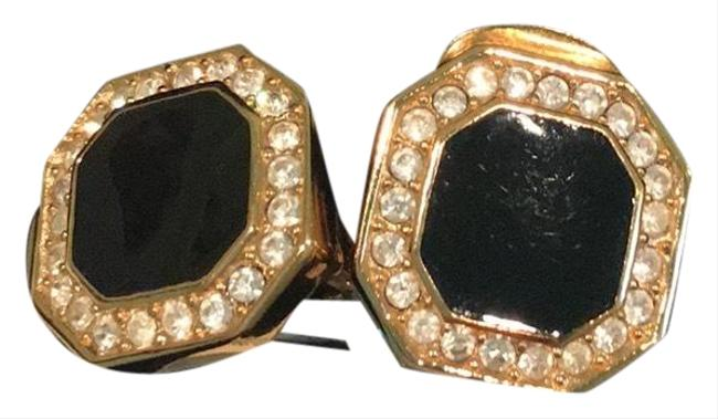 Item - Black and Gold Clip On Earrings