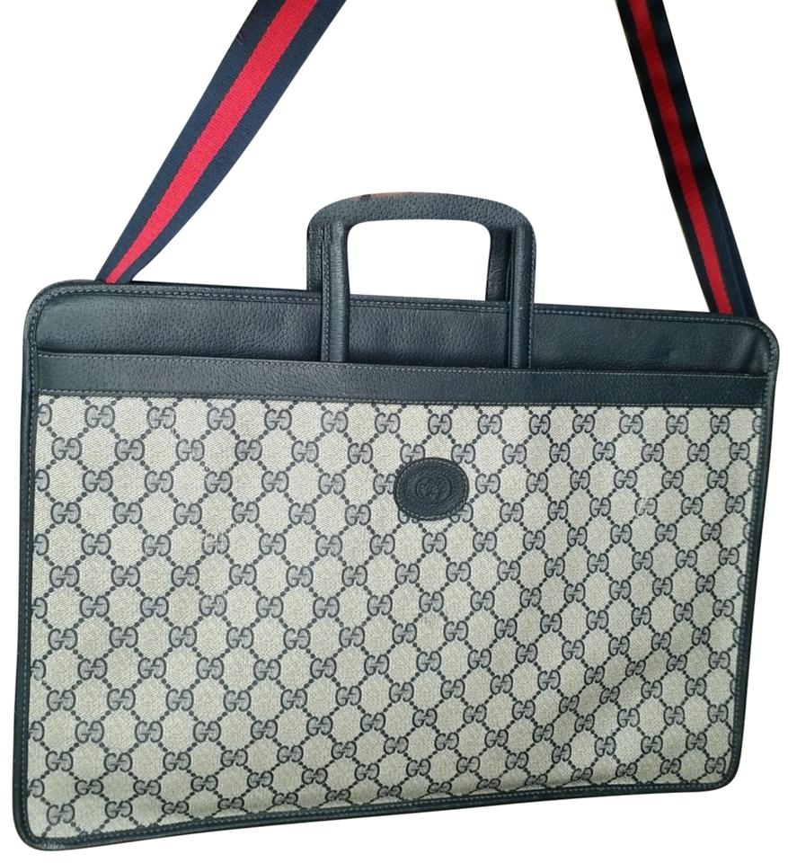 4991cf47a Gucci Vintage Vtg Gg Monogram Supreme Briefcase Blue Leather Coated ...