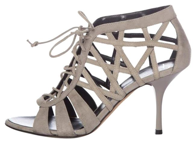Item - Gray Laceup Suede Caged Sandals Size US 7.5 Regular (M, B)