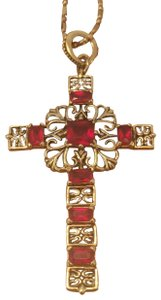 """Camrose & Kross Jacqueline Kennedy simulated Ruby cross 18"""" necklace"""