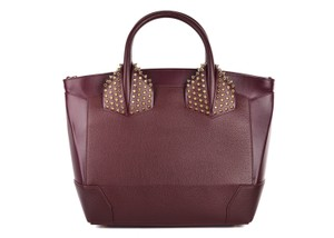 Christian Louboutin Italian Leather Calfskin Strappy Comfortable Tote in Burgundy