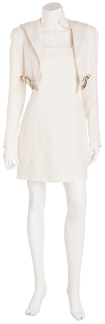 Item - White Linen with Leather Buckles Short Casual Dress Size 8 (M)