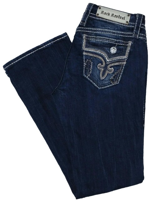 Item - Kai Blue Distressed Designed For Buckle Boot Cut Jeans Size 28 (4, S)