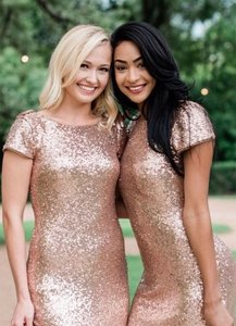 Gold Sequence Chloe Formal Bridesmaid/Mob Dress Size 4 (S)