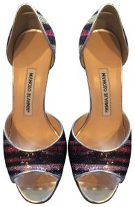 Manolo Blahnik silver, purple, pink, gold and silver sequins Pumps