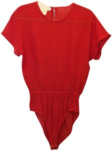 Escada Body Suit Silk Short Sleeve Size 4 S Small Top Red