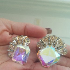 Lord & Taylor Crystal Clip on Earrings