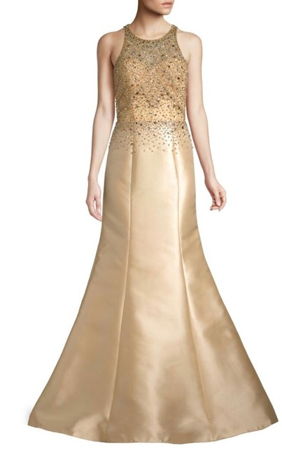 Item - Champagne Beaded Halter Trumpet Gown Long Formal Dress Size 10 (M)