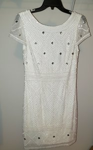 Adrianna Papell White Polyester Casual Wedding Dress Size 6 (S)