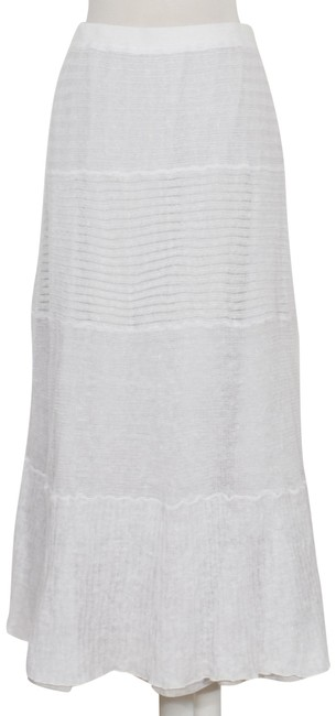 Item - White Fine Gauge Linen Lace Mix Full Length Tiered Skirt Size 6 (S, 28)