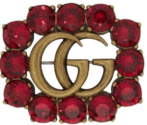 Gucci Gucci GG Marmont Logo Crystal Ruby Red Brooch