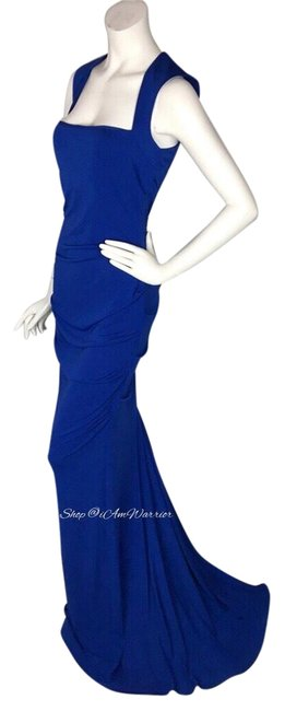Item - Blue Ruched Square Neck Gown Long Formal Dress Size 10 (M)