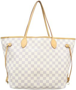 Louis Vuitton Lv Neverfull Mm Azur Canvas Shoulder Bag