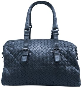 Bottega Veneta Intrecciato Handle Lambskin Satchel in Black