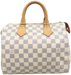 Louis Vuitton Speedy 25 Damier Azur Tote in White