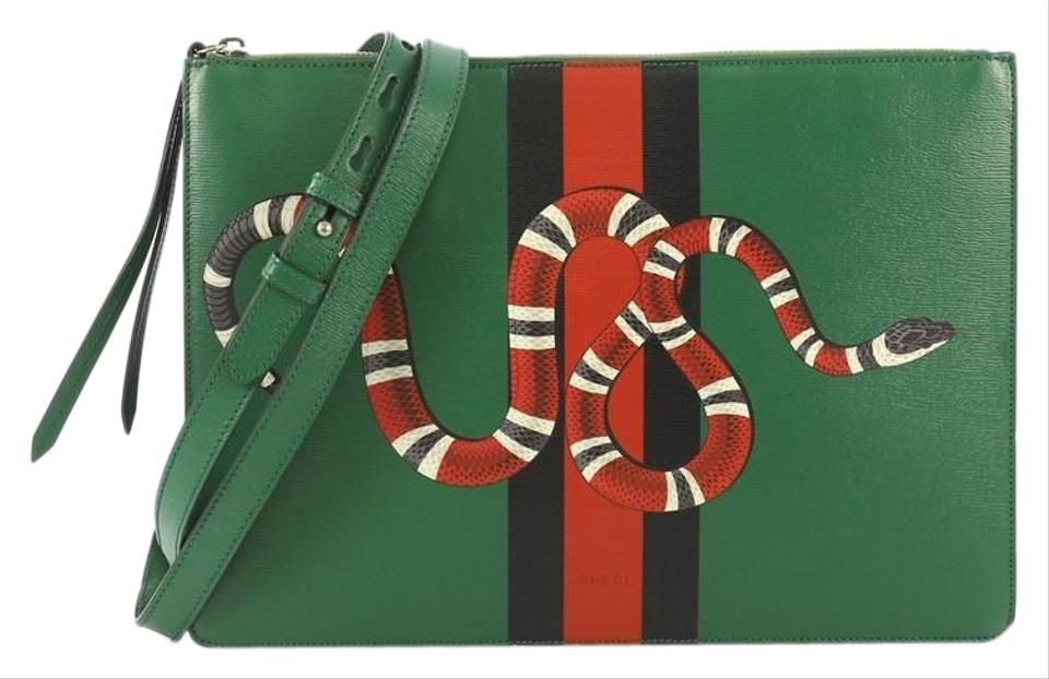 09d846298 Gucci Messenger Bag Web and Snake Printed Leather Large Clutch - Tradesy