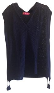 Macbeth Collection Navy Hooded Swim Coverup