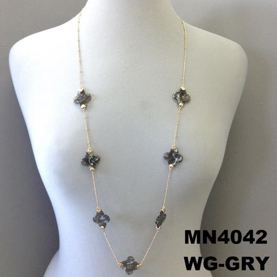 Generic Grey Resin Clover Charms Gold Finish Long Necklace Image 1