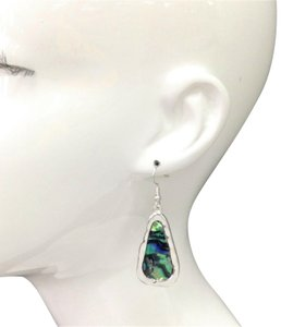 Generic Abalone Shell Stone Pendant Silver Finish Earrings