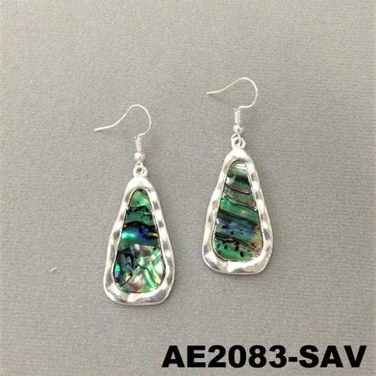 Generic Abalone Shell Stone Pendant Silver Finish Earrings Image 1