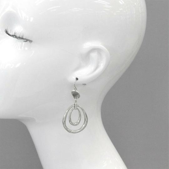 Generic Bohemian Hammered Style Silver Dangle Earrings Image 1