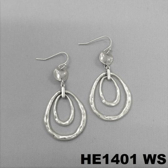 Generic Bohemian Hammered Style Silver Dangle Earrings Image 2