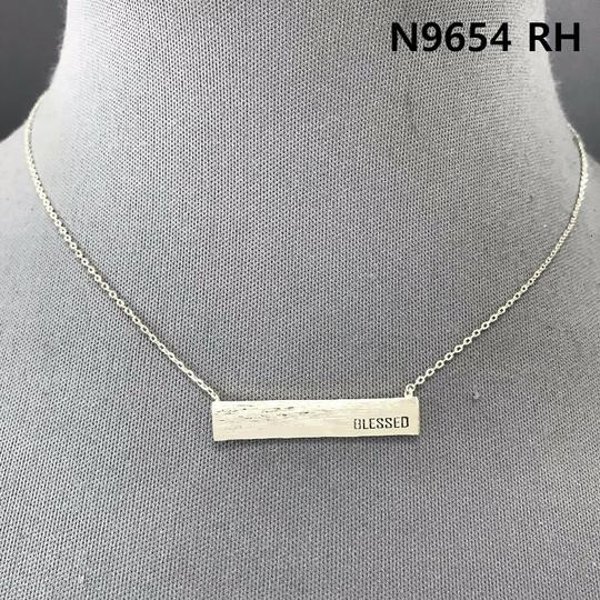 Generic Silver Finish BLESSED Engraved Pendant Necklace Image 2