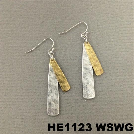 Generic Hammered Flat Bar Gold Silver Finish Hook Earrings Image 2