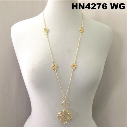 Generic Victorian Style Filigree Cut Pendant Gold Necklace Image 2