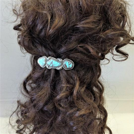 Generic Turquoise Stones Silver Finish Hair Brooch Image 1