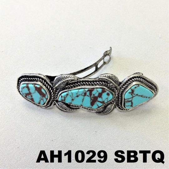 Generic Turquoise Stones Silver Finish Hair Brooch Image 2