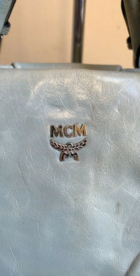 MCM Leather Studded Two Way Gucci Satchel in Light Blue Image 1