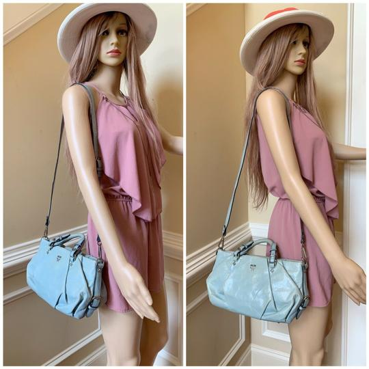 MCM Leather Studded Two Way Gucci Satchel in Light Blue Image 3