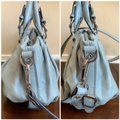 MCM Leather Studded Two Way Gucci Satchel in Light Blue Image 4