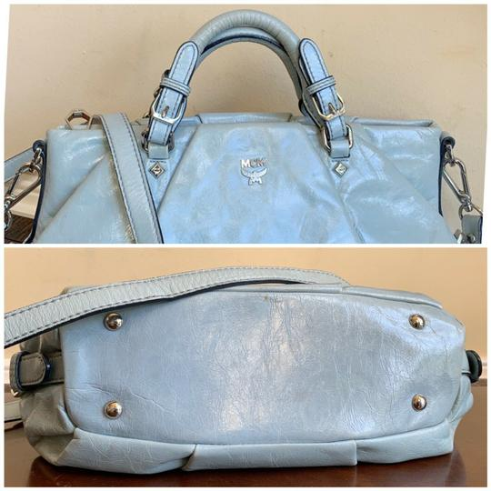 MCM Leather Studded Two Way Gucci Satchel in Light Blue Image 5