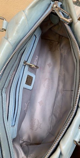MCM Leather Studded Two Way Gucci Satchel in Light Blue Image 7
