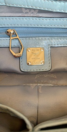 MCM Leather Studded Two Way Gucci Satchel in Light Blue Image 8