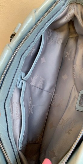 MCM Leather Studded Two Way Gucci Satchel in Light Blue Image 9