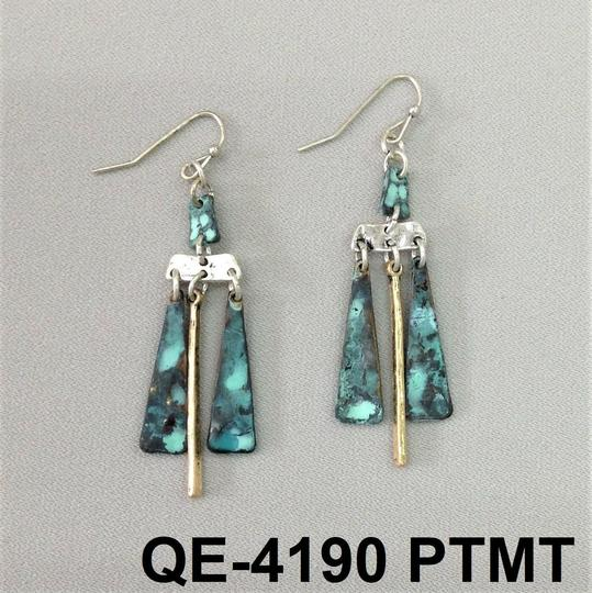 Generic Patina Tone Abstract Gold Bar Dangle Earrings Image 2