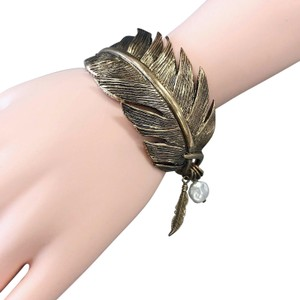 Generic Gold Finished Metal Feather Cuff Bangle