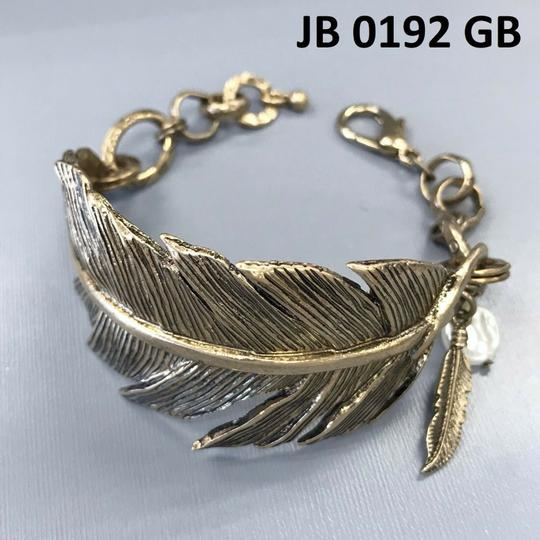 Generic Gold Finished Metal Feather Cuff Bangle Image 1