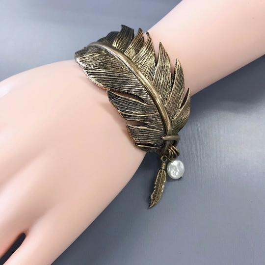 Generic Gold Finished Metal Feather Cuff Bangle Image 2