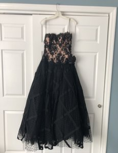 Chris Kole Black with Nude Underlay Lace Over Tulle Mother Of The Bride Formal Bridesmaid/Mob Dress Size 12 (L)
