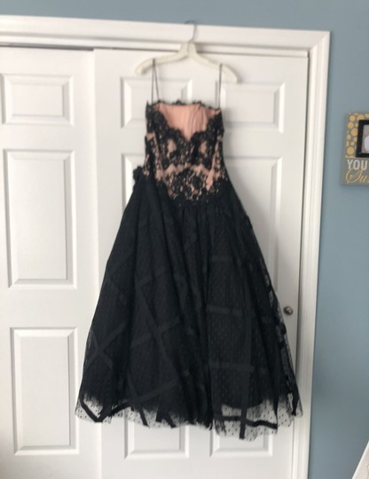 Chris Kole Black with Nude Underlay Lace Over Tulle Mother Of The Bride Formal Bridesmaid/Mob Dress Size 12 (L) Image 3