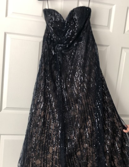Rene Ruiz Midnight Navy Sequin and Lace Mother Of The Bride Gown Formal Bridesmaid/Mob Dress Size 12 (L) Image 4