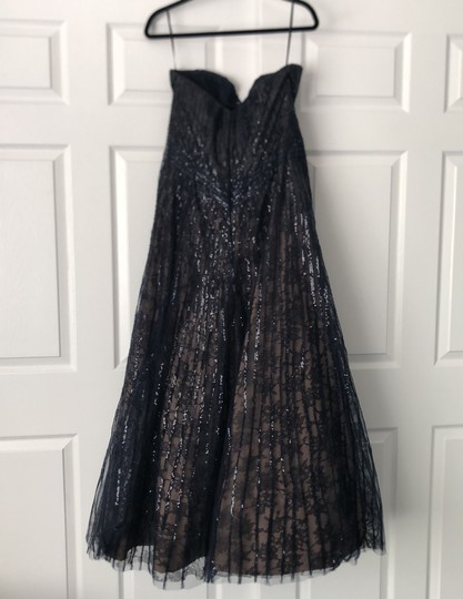 Rene Ruiz Midnight Navy Sequin and Lace Mother Of The Bride Gown Formal Bridesmaid/Mob Dress Size 12 (L) Image 5