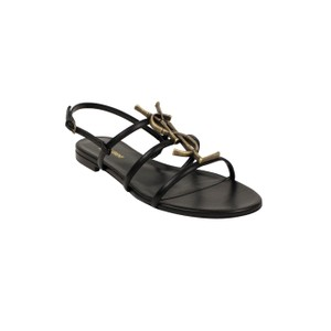 Saint Laurent Leather Logo Bamboo Open Toe Black Sandals