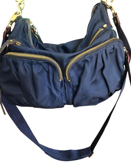 Item - Navy Blue with Gold Hardware Nylon and Leather Shoulder Bag