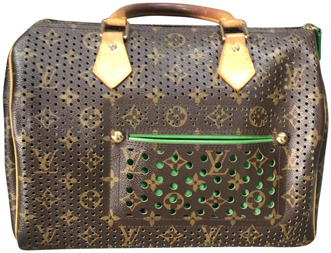 Item - Lv Perforated Brown/Green Leather Hobo Bag
