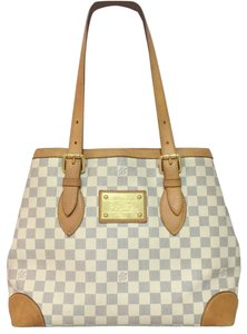 d41a649afe896 Louis Vuitton Lv Hampstead Hampstead Mm Damier Azur Canvas Hampstead Tote  in White